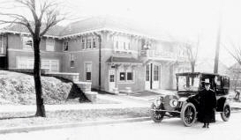 R. A. Long�s Pierce Arrow limousine in front of garage, before 1914